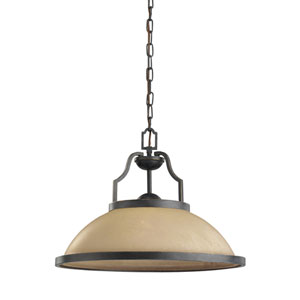 Roslyn Flemish Bronze Energy Star LED Pendant with Creme Parchment Glass
