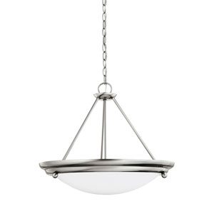 Centra Brushed Stainless Energy Star Three-Light LED Convertible Pendant