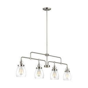 Belton Brushed Nickel Four-Light LED Mini Pendant with Seeded Glass