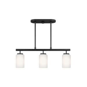 Oslo Midnight Black Three-Light Mini Pendant with LED Bulbs