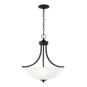 Geary Midnight Black Three-Light Pendant with LED Bulbs