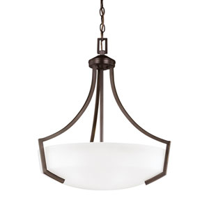 Hanford Bronze Energy Star Three-Light LED Pendant with Satin Etched Glass