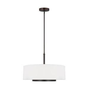 Nance Bronze Three-Light Pendant with LED Bulbs