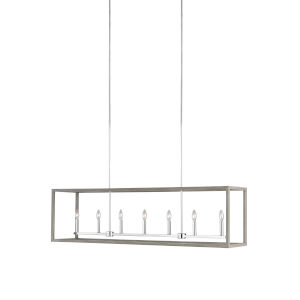 Moffet Street Washed Pine Seven-Light Pendant