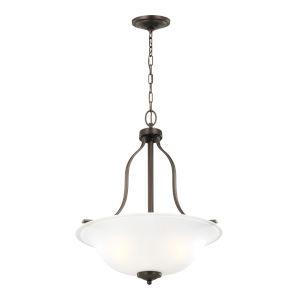 Emmons Bronze Three-Light Pendant with LED Bulbs