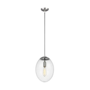 Leo Satin Aluminum 12-Inch LED Pendant with Seeded Glass
