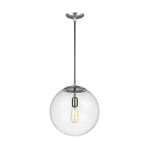Hanging Globe Satin Aluminum 14-Inch One-Light Pendant