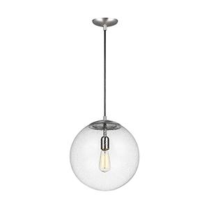 Hanging Globe Satin Aluminum 14-Inch One-Light Pendant
