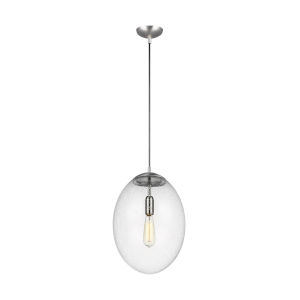 Leo Satin Aluminum 14-Inch LED Pendant with Seeded Glass