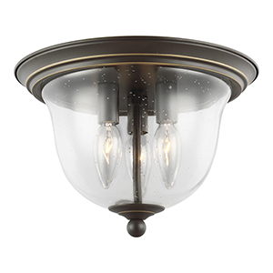 Belton Heirloom Bronze 11-Inch Three-Light Flush Mount
