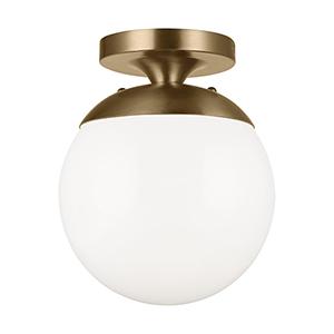 Leo Hanging Globe Satin Bronze One-Light Energy Star Semi Flush Mount