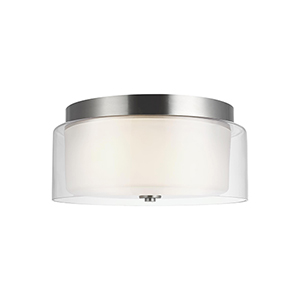 Elmwood Park Brushed Nickel Two-Light Flush Mount