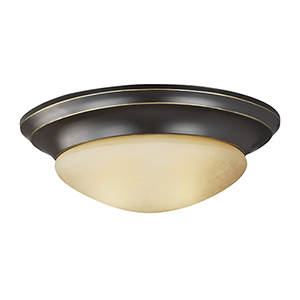 Nash Heirloom Bronze 12-Inch LED Flush Mount with Amber Scavo Glass