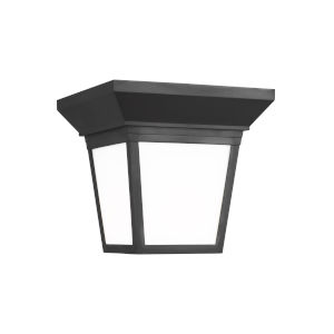 Lavon Black One-Light Outdoor Flush Mount with Smooth White Shade Energy Star