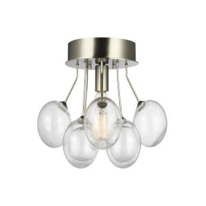 Bronzeville Brushed Nickel One-Light Semi-Flush Mount with Clear Seeded Shade