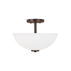 Oslo Burnt Sienna Two-Light Semi-Flush Mount with Etched White Inside Shade Energy Star