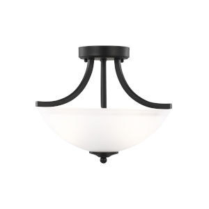Geary Midnight Black Two-Light Semi-Flush Convertible Pendant without Bulbs