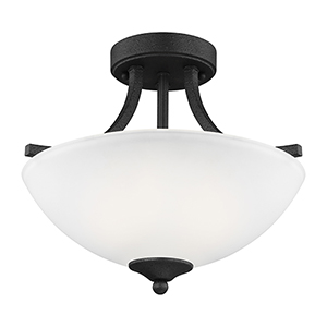 Geary Blacksmith 14-Inch Two-Light Semi Flush Mount
