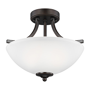 Geary Burnt Sienna Energy Star 14-Inch Two-Light Semi Flush Mount