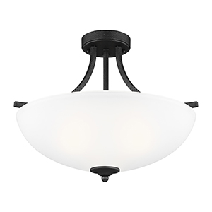 Geary Blacksmith 19-Inch Three-Light Semi Flush Mount
