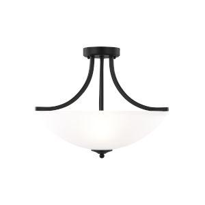 Geary Midnight Black Three-Light Semi-Flush Convertible Pendant with LED Bulbs
