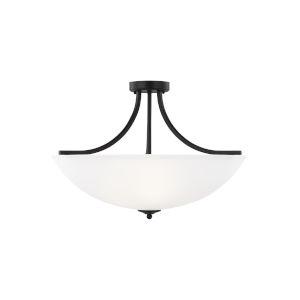 Geary Midnight Black Four-Light Semi-Flush Convertible Pendant with LED Bulbs