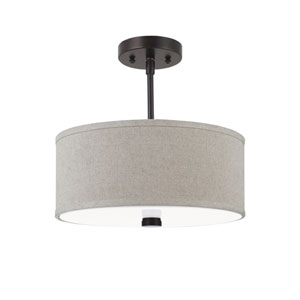 Dayna Shade Pendants Burnt Sienna Energy Star Two-Light LED Semi Flush Mount