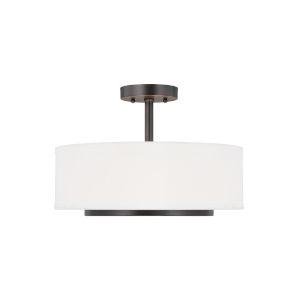 Nance Bronze Two-Light Semi-Flush Convertible Pendant without Bulbs