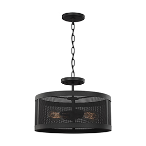 Gereon Black 16-Inch Two-Light Convertible Pendant