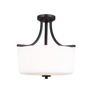 Kemal Midnight Black Three-Light Semi-Flush Mount with Etched White Inside Shade