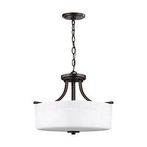 Canfield Burnt Sienna 16-Inch Three-Light Convertible Pendant