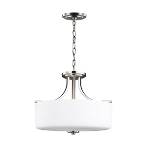 Canfield Brushed Nickel 16-Inch Three-Light Convertible Pendant