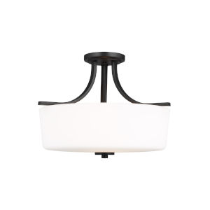 Kemal Midnight Black Three-Light Semi-Flush Mount with Etched White Inside Shade Energy Star