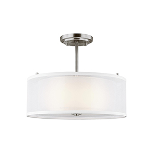 Elmwood Park Brushed Nickel Two-Light Semi Flush Mount