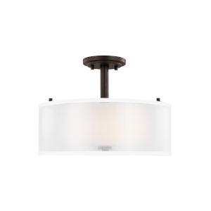 Elmwood Park Bronze Two-Light Semi Flush Mount with LED Bulbs