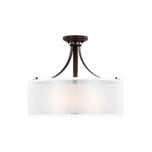 Elmwood Park Bronze Three-Light Semi Flush Mount with LED Bulbs