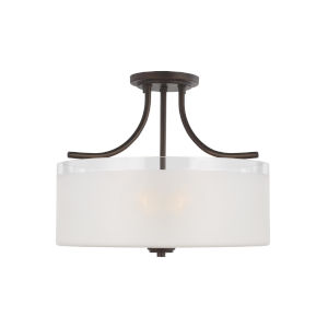 Norwood Bronze Three-Light Semi-Flush Mount with Clear Highlighted Satin Etched Shade