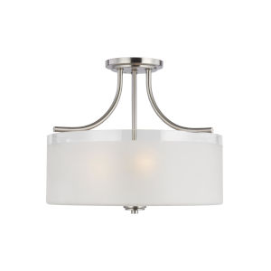 Norwood Brushed Nickel Three-Light Semi-Flush Mount with Clear Highlighted Satin Etched Shade