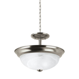 Windgate Brushed Nickel Energy Star Two-Light LED Convertible Pendant