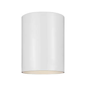 Outdoor Cylinders White Five-Inch LED Outdoor Flush Mount