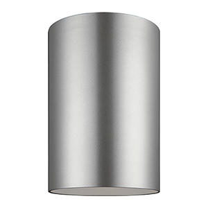Outdoor Cylinders Painted Brushed Nickel Six-Inch LED Outdoor Flush Mount