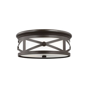 Lakeview Antique Bronze Energy Star Two-Light LED Outdoor Ceiling Flush Mount