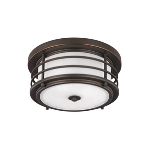 Sauganash Antique Bronze Energy Star Two-Light LED Outdoor Ceiling Flush Mount