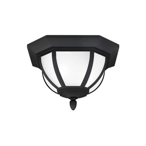 Childress Black Energy Star Two-Light LED Outdoor Ceiling Flush Mount