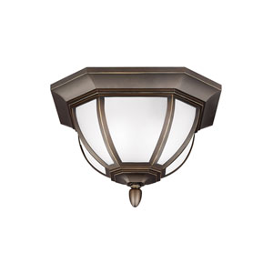 Childress Antique Bronze Energy Star Two-Light LED Outdoor Ceiling Flush Mount