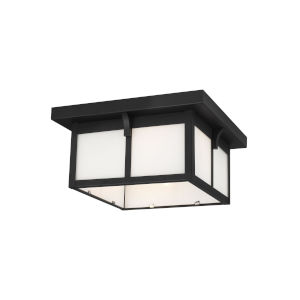 Tomek Black Two-Light Outdoor Flush Mount with Etched White Shade Energy Star
