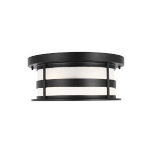Wilburn Black Two-Light Outdoor Flush Mount with Satin Etched Shade Energy Star
