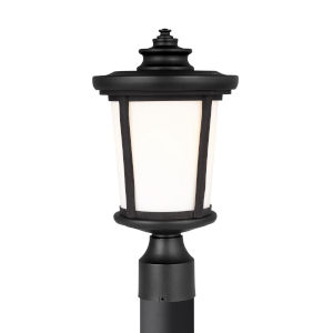 Eddington Black One-Light Outdoor Post Mount with Cased Opal Etched Shade