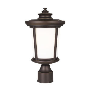 Eddington Antique Bronze One-Light Outdoor Post Mount with Cased Opal Etched Shade