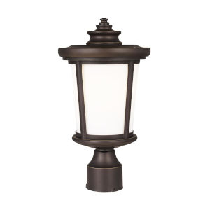 Eddington Antique Bronze One-Light Outdoor Post Mount with Cased Opal Etched Shade Energy Star